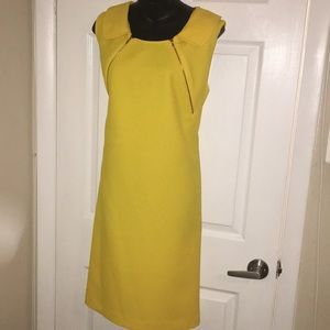 Yellow sheath dress midi with exposed zippers